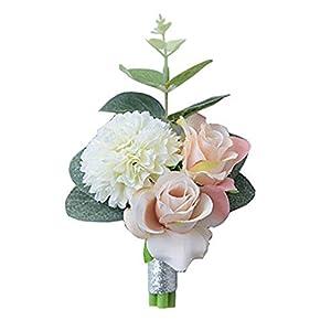 3ed89ee91 S-SSOY Handmade Boutonniere Romantic Flower Bridegroom Groom Men's  Boutonniere Groomsmen Best Man Boutineer Artificial Flower Brooch Corsage  for Wedding ...