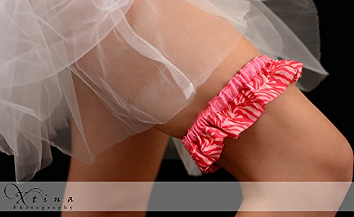 Hot Pink And Light Pink Zebra Satin Ruffle Bridal Keepsake Wedding Garter -