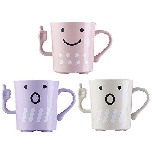 (Cute Tooth Mug/Tooth-brush Cup, CRIVERS Cartoon-Style Toothbrush Holders Bathroom Tumbler/Gargle Cup/Rinse Mug with Unique Thumbs-up Handle for Kids Couple Lovers (Pink+White+Purple))