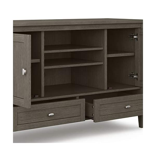 SIMPLIHOME Warm Shaker SOLID WOOD Universal TV Media Stand, 47 inch Wide , Farmhouse Rustic , Living Room Entertainment…