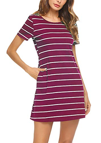 Feager Women's Casual Striped Criss Cross Short Sleeve T Shirt Mini Dress with Pockets (XL, Wine Red)