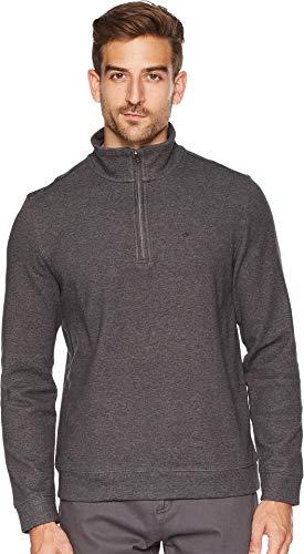 Sweater Mens Gunmetal (Calvin Klein Men's Classic Quarter Zip Sweater, Gunmetal Heather, Small)