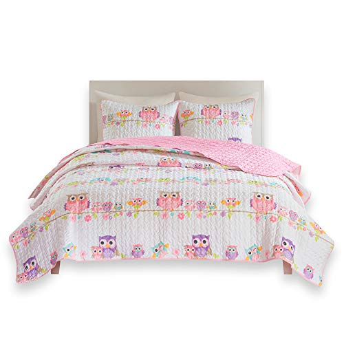 dy Hoots Kids Bedspread Mini Quilt Set - 2 Piece - Pink White - Teens/Girls - Owl Print - Twin Size, Includes 1 Quilt, 1 Sham ()