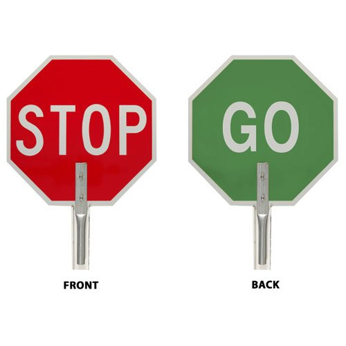 Brady 55775 Aluminum ''STOP GO'' Traffic Paddle Sign, White on Red/Green by Brady