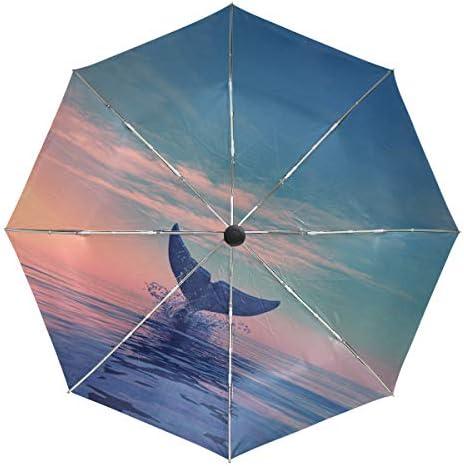 Chovy 折りたたみ傘 軽量 自動開閉 晴雨兼用 レディース 日傘 UVカット 遮光 ワンタッチ メンズ 鯨 クジラ 海 砂浜 美しい クール 個性 雨傘 傘 晴雨傘 折り畳み 8本骨 遮熱 丈夫 耐風撥水 収納ポーチ付き プレゼント