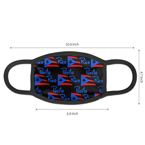 Mouth Mask Earloop Face Mask Fashion Polyester Breathable Mask - American Puerto Rico Flag Black Adjustable Elastic Strap Windproof Face and Nose Cover, Reusable & Washable