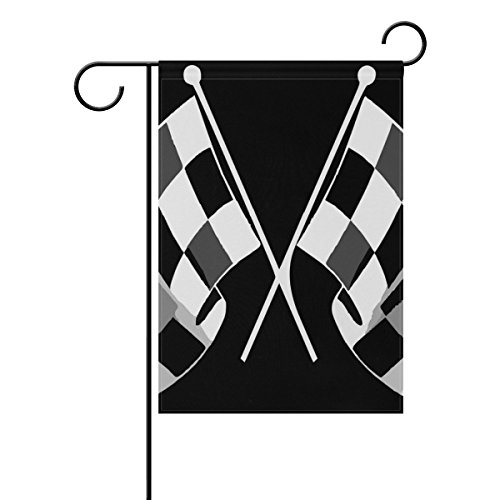 "LEISISI Check Flag Formula Racing Garden flag 12""X18"" Two Si"