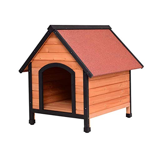 TANGKULA Dog House Outdoor Weather Waterproof Pet House Wood Pet Kennel Natural Wooden Dog House Home with Reddish Brown Roof 3 Size(S/M/L) Review