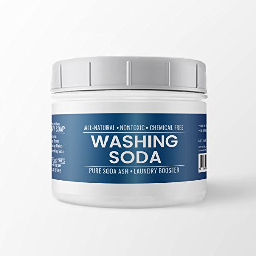 All-Natural Washing Soda, Resealable Tub with Scoop, Soda Ash, Sodium Carbonate, Laundry Booster, Non Toxic, Hypoallergenic (2 lb (32 oz)) (Ash Pool Soda Water)