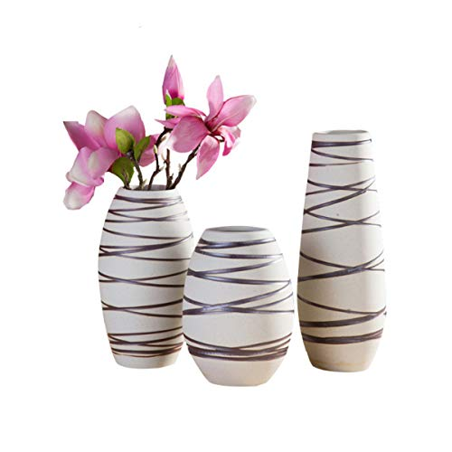 YuXiong High-Temperature Matt Color Glaze Hand-Carved Ceramic Vase No Leakage Flower Shop Home Flower Arrangement Flower Flower (Color : White, Size : M) ()