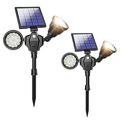 Solar Spot Lights, Outdoor 36 LED Landscape Lamps Double Head 1000 Lumens Bright Spotlight Waterproof Flood Lamp with Motion Sensor for Deck Yard Garden Garage Driveway