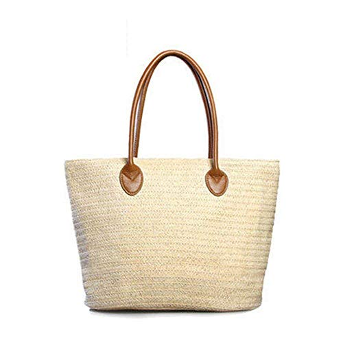 Happy Lily Women Multifuctional Reusable Shopper Bag Carry-All & Organizer Straw Beach Tote Bag Shoulder or Top-Handle Handbag for Beach Vacation/Baby/Outdoor Activities (Beige) ()