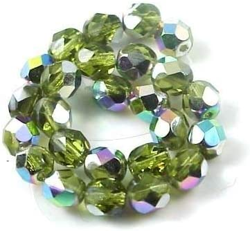 25 Vitral-Olivine Czech Firepolished Faceted Round Glass Beads 6mm