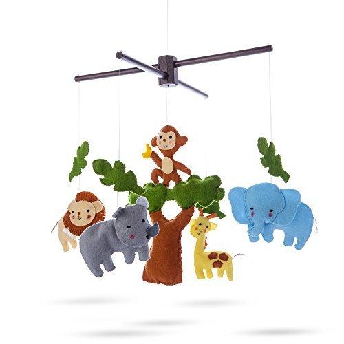 Marmelada Lights Handmade soft Felt Nursery-crib-cot Hanging plush Mobile Safari Freinds, Bedtime room Décor
