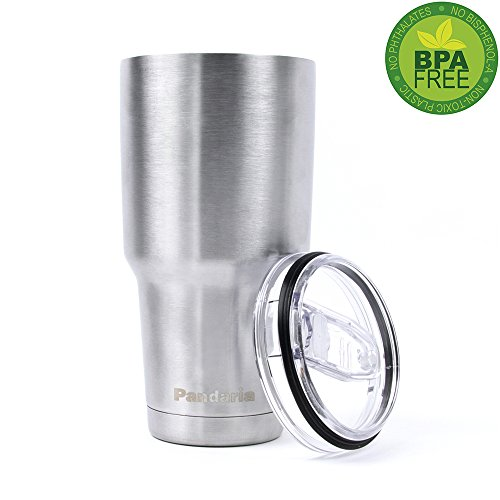 Pandaria 30 oz Stainless Steel Vacuum Insulated Tumbler with Lid - Double Wall Travel Mug Water Coffee Cup for Ice Drink & Hot Beverage, (Double Wall Stainless Liner)