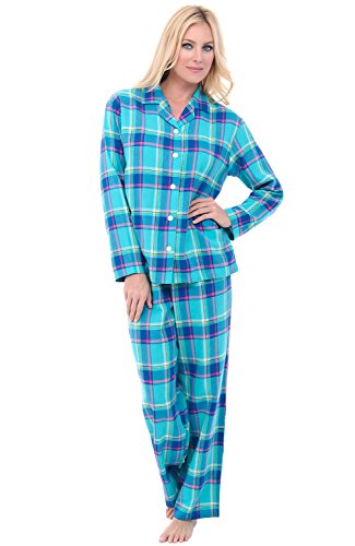 Alexander Del Rossa Womens Flannel Pajamas, Long Cotton Pj Set, 3X Teal Plaid ()