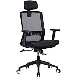 VANBOW Ergonomic High Back Mesh Office Chair - Adjustable Headrest and Arms, 90°-120° Tilt Lock, Adjustable Lumbar Support Computer Desk Task Executive Chair, Black