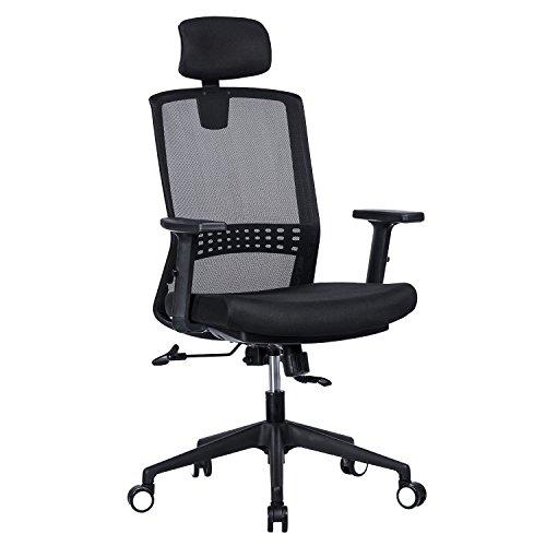 h Office Chair - Adjustable Headrest and Arms, 90°-120° Tilt Lock, Adjustable Lumbar Support Computer Desk Task Executive Chair, Black ()