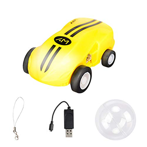 HHmei Mini High Speed Chariot Rapid 360 Degree Rotation Models with Lights - Mini high Speed car Stunt Racing Model (Yellow)