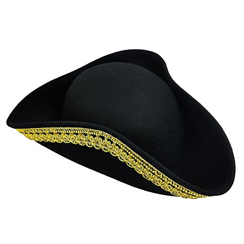 Tricorne Hat (Tricorn Hat For Pirate Colonial Or Revolutionary War Costume – Men Women & Youth)