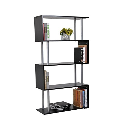 HomCom Modern S-Shaped 5 Tier Room Dividing Bookcase - Black