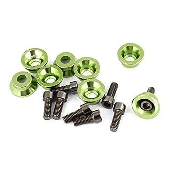 Agua y madera 8pcs Gris Verde Cromo Aluminio Tornillos Perno Logo de la matrícula para coche con coche gamuza de limpieza: Amazon.es: Coche y moto