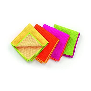 Ritz Microfiber 12 by 12-Inch Dish Cloth with Poly Scour Side, AssortedPink/Yellow/Orange/Green, 4-Pack