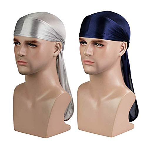 Silky Durag (2PCS/3PCS) with Extra long tail and wide straps headwrap Du-Rag for 360 Waves (Silver+Navy)