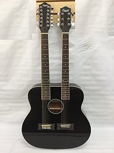 Ktone 6/12 String Acoustic Electric Double Neck Guitar, Black with Case