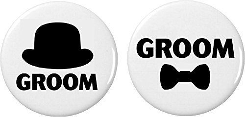 "Groom Top Hat (Set 2 Groom Top Hat / Bow Tie 2.25"" Large Buttons Pins Wedding Bachelor Party)"