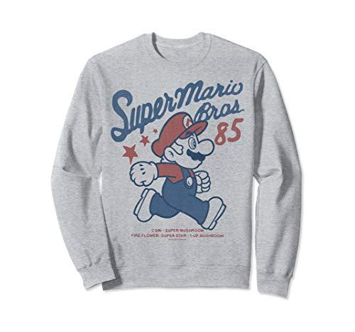 Nintendo Super Mario Bros '85 Vintage Stars Sweatshirt (Nintendo Wii Limited Edition Blue Console $99-96)
