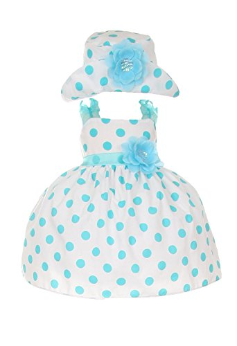 [Cinderella Couture Baby Girls Polka Dotted Rockabilly Dress Hat Aqua 6M S 1002] (Baby Easter Dresses)