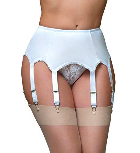 Nancies Womens Plain Panel 8 Garter Belt (XXL, White)