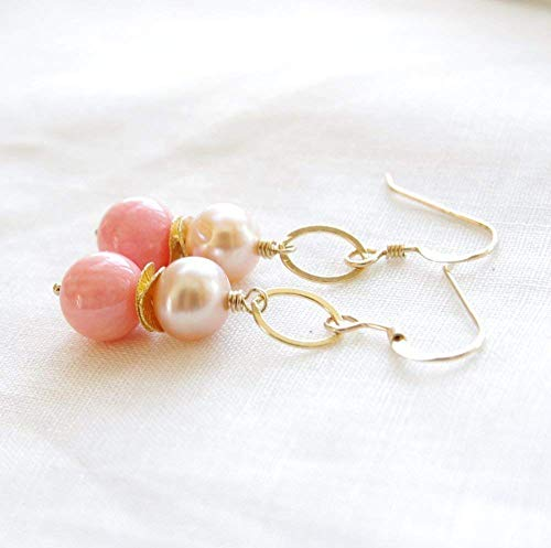 Pink Coral Earrings Peach Pearl Freshwater Cultured 14kt Gold Filled ()
