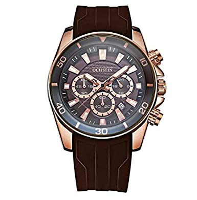Ochstin Business Casual Full Chronograph Brown Silicon Strap