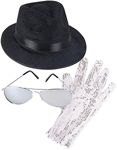 Rhode Island Novelty MJ Michael Jackson Costume Bundle With Fedora Hat Glove and Sunglasses