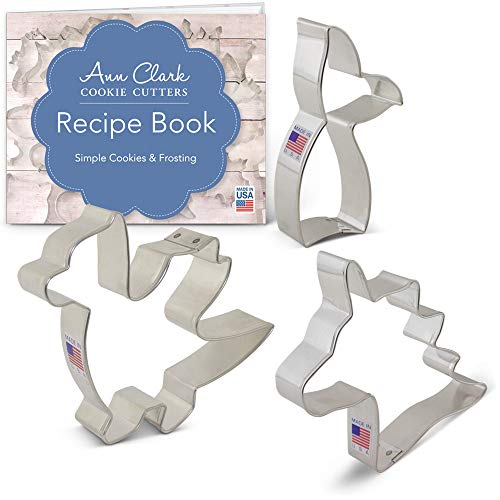 Mythical Creatures Cookie Cutter Set with Recipe Booklet - 3 piece - Dragon, Unicorn Head and Mermaid Tail - Ann Clark - USA Made Steel