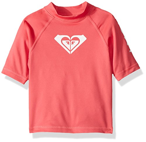 Roxy Big Girls' Whole Hearted Short Sleeve Rashguard, Rouge red, ()