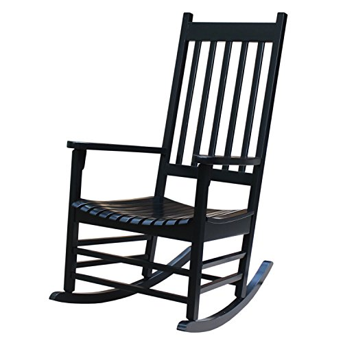 Black Solid Wood Outdoor Porch - International Concepts R-51866 Porch Rocker, Black