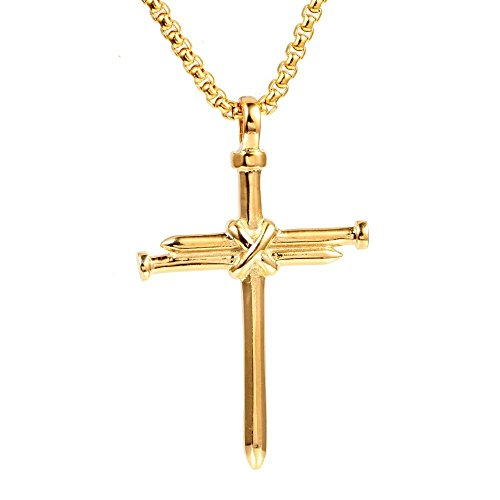 AILUOR Vintage Nail Cross Charm Pendant Necklace, Men's Stainless Steel Nail Cross Charm Christian Chain & Necklace Jewelry Polished Gold Silver Black (Gold)]()