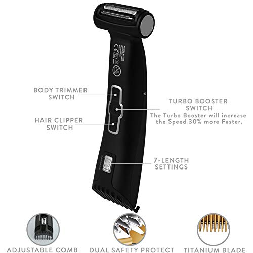 SUPRUS Body Groomer for Men Trimmer Body Shaver 2 in 1 Cordless Hair Clippers Rechargeable Beard Trimmer Wet Dry