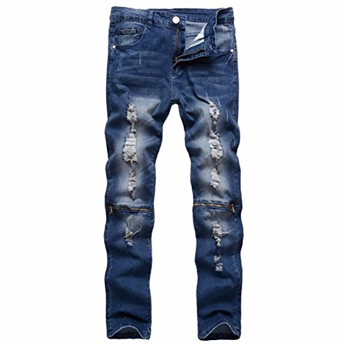 Forthery Men's Regular Ripped Skinny Classic Slim Fit Stretch Biker Jeans Pants with Holes (Blue, 36) - Pleats Straight Leg Trousers