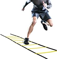 OhhGo Agility Ladder Adjustable Jumping Step Rope Outdoor Rungs Fitness Speed Training Equipment for Kids Teen