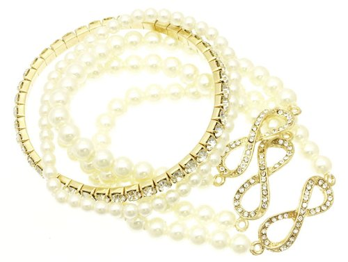 V G S Eternity Fashions Fashion Jewelry ~Cream Imitation Pearls Stackable Stretch Infinity Bracelet DGB1454GDCRM RI