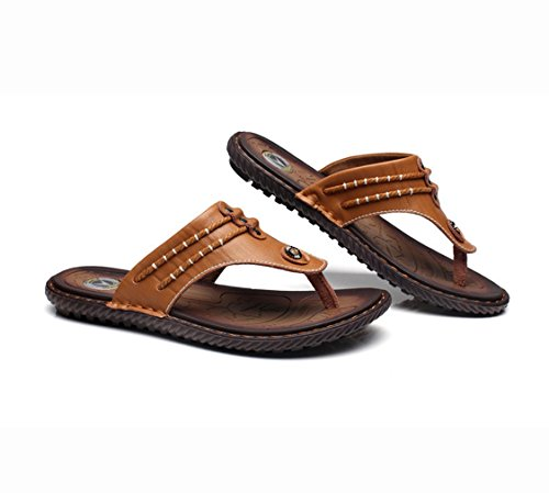 Leather U Thongs Exquisite MAC Casual Sandals Personalize Fashion Men's Flip Flops Brown Shoes Outdoor HxSwnHqP