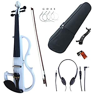 Esound 4/4 White Colored Solid Wood Electric/Silent Violin Kit with Ebony Fittings (Full Size) 41pRYoIL1xL