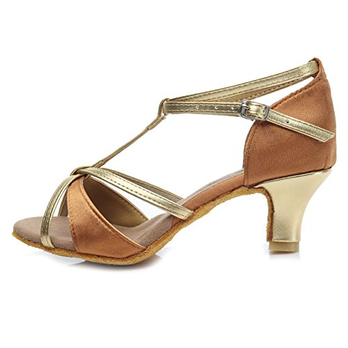 HROYL Damen Latin Dance Schuhe Satin Ballroom W7-W09 Braun1