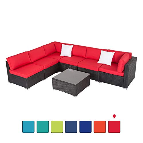 Peachtree Press Inc 7 PCs Outdoor Patio PE Rattan Wicker Sofa Sectional Furniture Set with Red Cushion, 2 Pillows and Tea Table (Furniture Red Outdoor Cushions With)