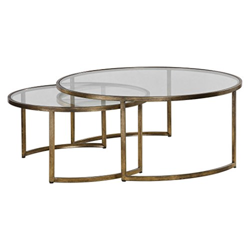 MY SWANKY HOME Set 2 Bronze Gold Nesting Coffee Tables | Round Large Modern Minimalist