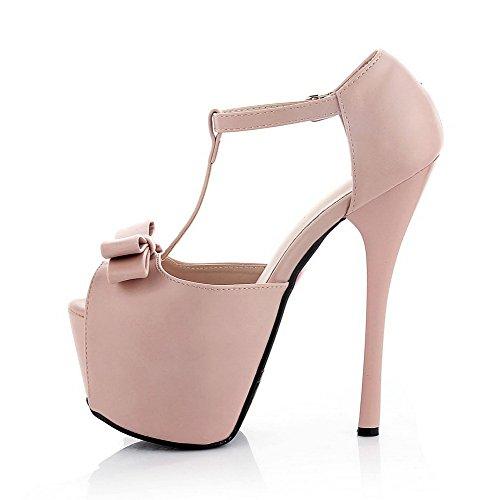 Sandalias De Pu Para Mujer Allhqfashion Peep Toe Sandalias De Pu De Tacón Alto Rosa